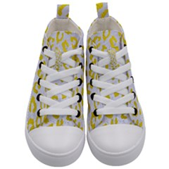 Skin5 White Marble & Yellow Leather Kid s Mid Top Canvas Sneakers