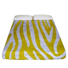 Skin4 White Marble & Yellow Leather (r) Fitted Sheet (california King Size) by trendistuff