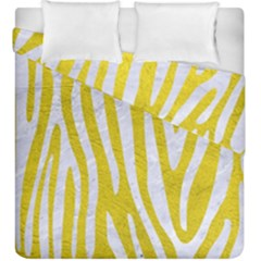Skin4 White Marble & Yellow Leather (r) Duvet Cover Double Side (king Size) by trendistuff