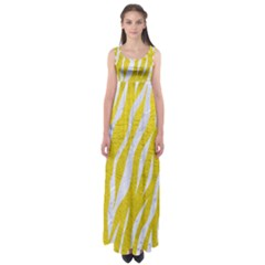 Skin3 White Marble & Yellow Leather Empire Waist Maxi Dress