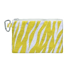 Skin3 White Marble & Yellow Leather Canvas Cosmetic Bag (medium) by trendistuff