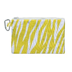 Skin3 White Marble & Yellow Leather Canvas Cosmetic Bag (large) by trendistuff