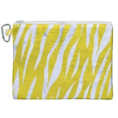 Skin3 White Marble & Yellow Leather Canvas Cosmetic Bag (xxl) by trendistuff