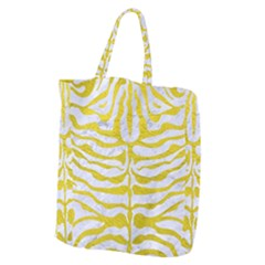 Skin2 White Marble & Yellow Leather (r) Giant Grocery Zipper Tote by trendistuff