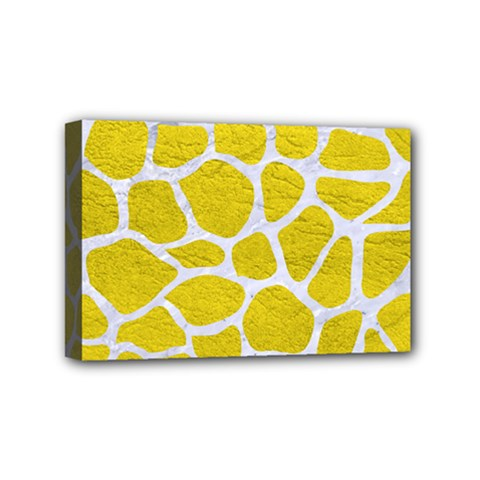 Skin1 White Marble & Yellow Leather (r) Mini Canvas 6  X 4  by trendistuff