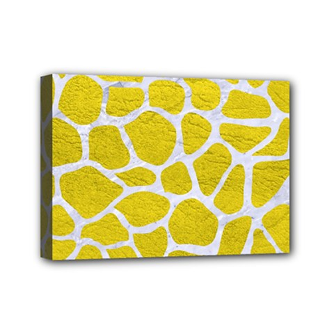 Skin1 White Marble & Yellow Leather (r) Mini Canvas 7  X 5  by trendistuff