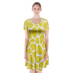 Skin1 White Marble & Yellow Leather (r) Short Sleeve V Neck Flare Dress