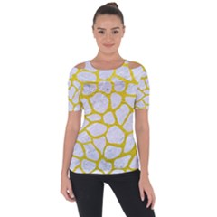 Skin1 White Marble & Yellow Leather Short Sleeve Top