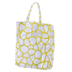 Skin1 White Marble & Yellow Leather Giant Grocery Zipper Tote by trendistuff