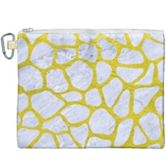 Skin1 White Marble & Yellow Leather Canvas Cosmetic Bag (xxxl) by trendistuff