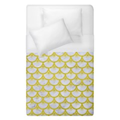 Scales3 White Marble & Yellow Leather (r) Duvet Cover (single Size) by trendistuff