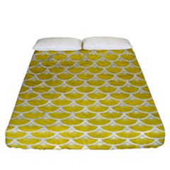 Scales3 White Marble & Yellow Leather Fitted Sheet (california King Size) by trendistuff