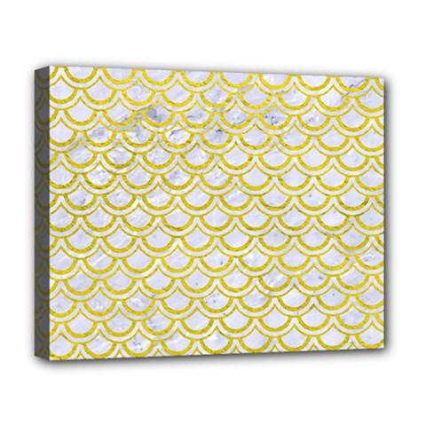 Scales2 White Marble & Yellow Leather (r) Deluxe Canvas 20  X 16   by trendistuff