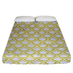 Scales2 White Marble & Yellow Leather (r) Fitted Sheet (queen Size) by trendistuff