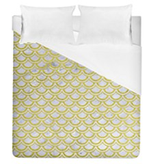 Scales2 White Marble & Yellow Leather (r) Duvet Cover (queen Size) by trendistuff
