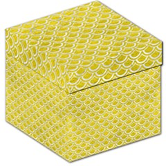 Scales2 White Marble & Yellow Leather Storage Stool 12   by trendistuff