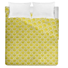 Scales2 White Marble & Yellow Leather Duvet Cover Double Side (queen Size) by trendistuff