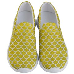 Scales1 White Marble & Yellow Leather Men s Lightweight Slip Ons