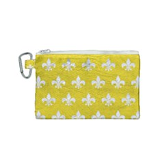Royal1 White Marble & Yellow Leather (r) Canvas Cosmetic Bag (small) by trendistuff