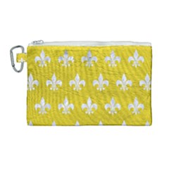 Royal1 White Marble & Yellow Leather (r) Canvas Cosmetic Bag (large) by trendistuff