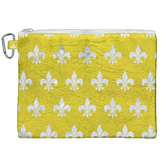 Royal1 White Marble & Yellow Leather (r) Canvas Cosmetic Bag (xxl)