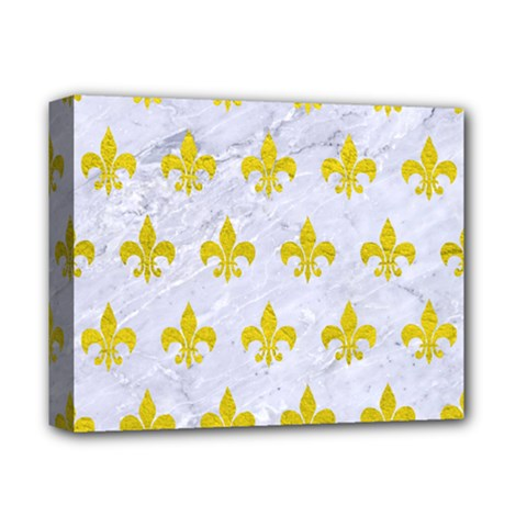 Royal1 White Marble & Yellow Leather Deluxe Canvas 14  X 11  by trendistuff