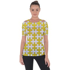 Puzzle1 White Marble & Yellow Leather Short Sleeve Top