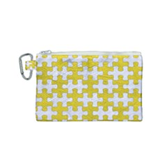 Puzzle1 White Marble & Yellow Leather Canvas Cosmetic Bag (small) by trendistuff