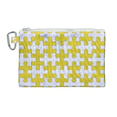 Puzzle1 White Marble & Yellow Leather Canvas Cosmetic Bag (large) by trendistuff