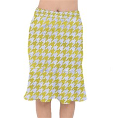 Houndstooth1 White Marble & Yellow Leather Mermaid Skirt