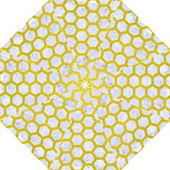 Hexagon2 White Marble & Yellow Leather (r) Straight Umbrellas by trendistuff