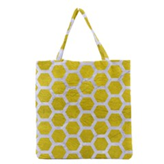 Hexagon2 White Marble & Yellow Leather Grocery Tote Bag by trendistuff