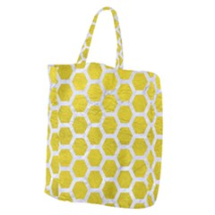 Hexagon2 White Marble & Yellow Leather Giant Grocery Zipper Tote