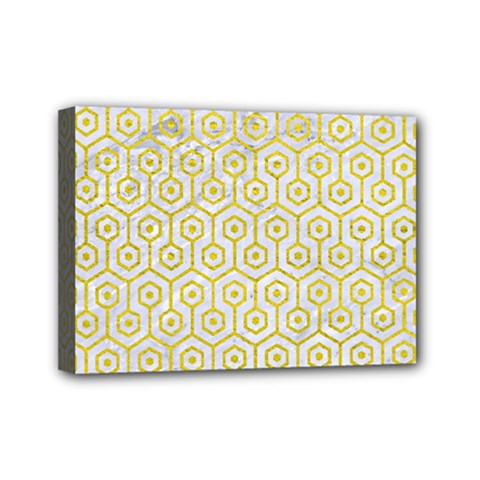 Hexagon1 White Marble & Yellow Leather (r) Mini Canvas 7  X 5  by trendistuff