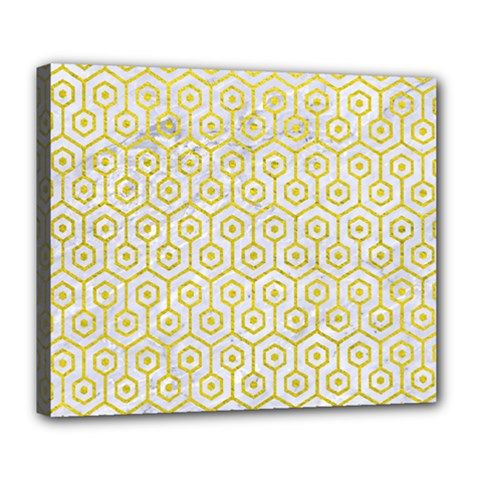 Hexagon1 White Marble & Yellow Leather (r) Deluxe Canvas 24  X 20   by trendistuff