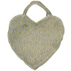 Hexagon1 White Marble & Yellow Leather (r) Giant Heart Shaped Tote by trendistuff