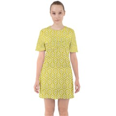 Hexagon1 White Marble & Yellow Leather Sixties Short Sleeve Mini Dress