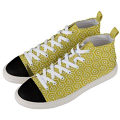 Hexagon1 White Marble & Yellow Leather Men s Mid Top Canvas Sneakers by trendistuff