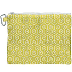 Hexagon1 White Marble & Yellow Leather Canvas Cosmetic Bag (xxxl) by trendistuff