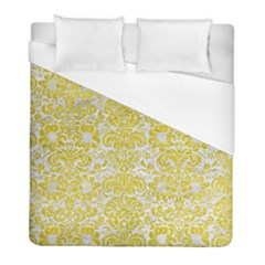 Damask2 White Marble & Yellow Leather (r) Duvet Cover (full/ Double Size) by trendistuff