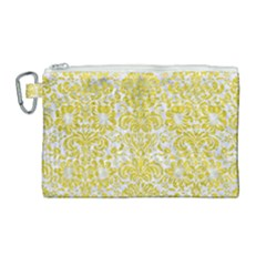 Damask2 White Marble & Yellow Leather (r) Canvas Cosmetic Bag (large) by trendistuff