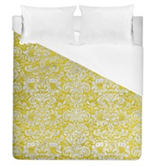 Damask2 White Marble & Yellow Leather Duvet Cover (queen Size) by trendistuff