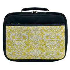 Damask2 White Marble & Yellow Leather Lunch Bag by trendistuff