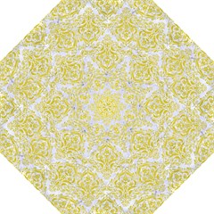 Damask1 White Marble & Yellow Leather (r) Straight Umbrellas by trendistuff