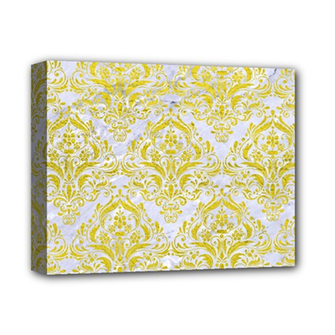 Damask1 White Marble & Yellow Leather (r) Deluxe Canvas 14  X 11  by trendistuff