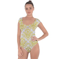 Damask1 White Marble & Yellow Leather (r) Short Sleeve Leotard  by trendistuff
