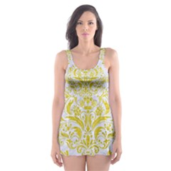 Damask1 White Marble & Yellow Leather (r) Skater Dress Swimsuit