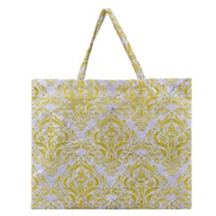Damask1 White Marble & Yellow Leather (r) Zipper Large Tote Bag by trendistuff