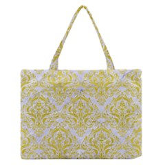 Damask1 White Marble & Yellow Leather (r) Zipper Medium Tote Bag by trendistuff