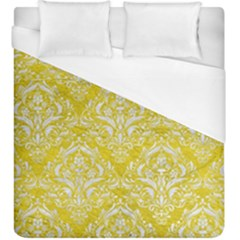 Damask1 White Marble & Yellow Leather Duvet Cover (king Size) by trendistuff